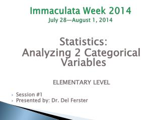 Immaculata Week 2014 July 28—August 1, 2014