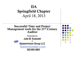 IIA Springfield Chapter April 18, 2013