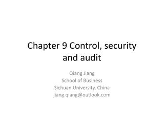 Chapter 9 Control, security  and audit
