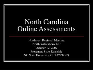 North Carolina Online Assessments