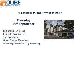 Thursday 21 st September Legionella – A re-cap Example Risk Systems The Regulator.