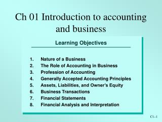 Ch 01 Introduction to accounting and business