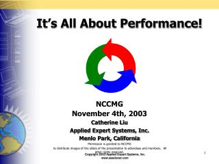 NCCMG  November 4th, 2003 Catherine Liu  Applied Expert Systems, Inc. Menlo Park, California