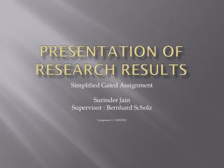 Presentation of Research Results