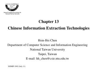 Chapter 13 Chinese Information Extraction Technologies