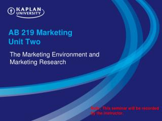 AB 219 Marketing  Unit Two