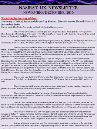 NASIRAT  UK  NEWSLETTER NOVEMBER/DECEMBER   2010