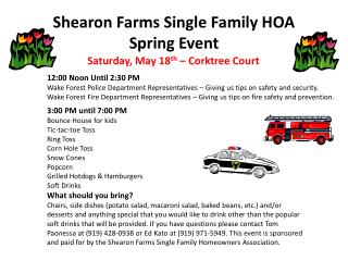 Shearon Farms Single Family HOA Spring Event