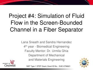 Project #4: Simulation of Fluid Flow in the Screen-Bounded Channel in a Fiber Separator
