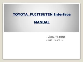 TOYOTA_FUJITSUTEN Interface MANUAL