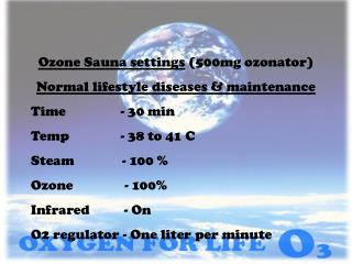 Ozone Sauna settings  (500mg ozonator) Normal lifestyle diseases & maintenance