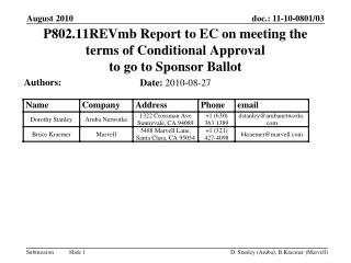 P802.11REVmb Report to EC on meeting the terms of Conditional Approval  to go to Sponsor Ballot
