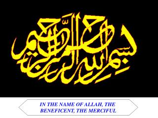 IN THE NAME OF ALLAH, THE  BENEFICENT, THE MERCIFUL