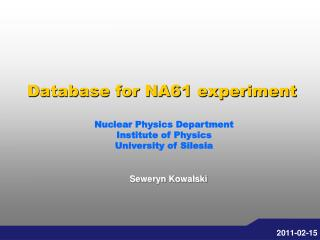 Database for NA61 experiment