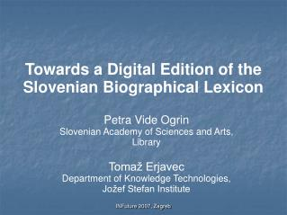 Towards a Digital Edition of the Slovenian Biographical Lexicon
