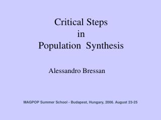 Critical Steps  in  Population  Synthesis
