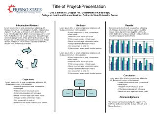 Title of Project/Presentation