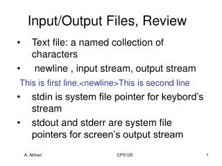 Input/Output Files, Review