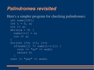 Palindromes revisited