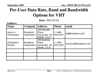 Per-User Data Rate, Band and Bandwidth Options for VHT