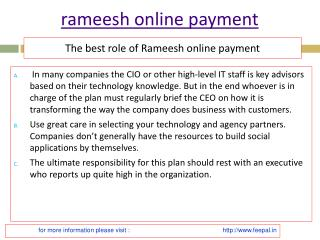 A short review on rameesh online payment
