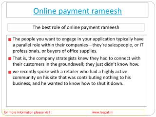 What are the guidelines for the online payment rameesh