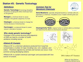 Station #3:  Genetic Toxicology