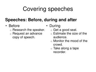 Covering speeches