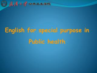 English for special purpose in Public health