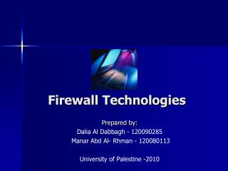 Firewall Technologies
