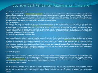 Buy Your Best Residential Apartments in Mumbai