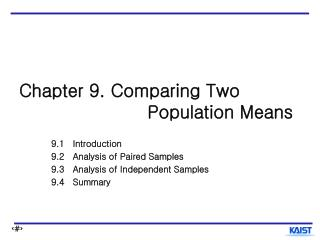 Chapter 9. Comparing Two                       Population Means