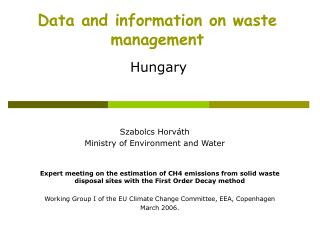 Data and information on waste management