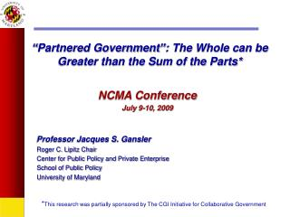 """Partnered Government"": The Whole can be Greater than the Sum of the Parts*"