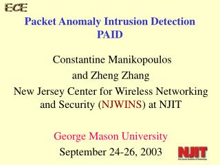 Packet Anomaly Intrusion Detection  PAID
