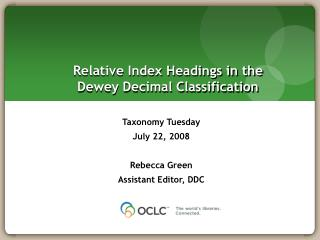 Relative Index Headings in the Dewey Decimal Classification