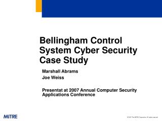 Bellingham Control System Cyber Security Case Study