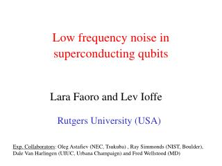Low frequency noise in  superconducting qubits