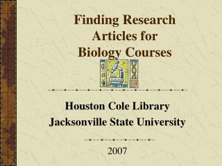 Finding Research Articles for Biology Courses
