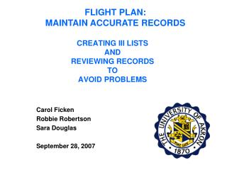 CREATING III LISTS AND REVIEWING RECORDS TO AVOID PROBLEMS