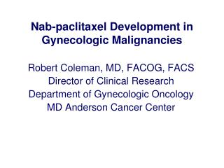 Nab-paclitaxel Development in Gynecologic Malignancies