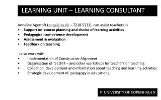 Learning Unit –  learning consultant