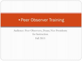 Peer Observer Training