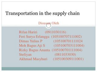 Transportation in the supply chain