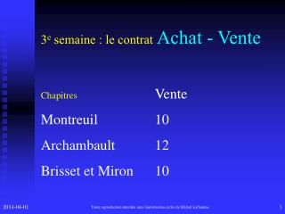 3 e  s emaine  : le contrat Achat - Vente