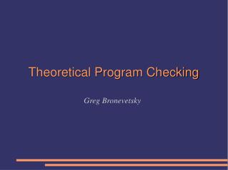 Theoretical Program Checking
