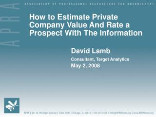 How to Estimate Private Company Value And Rate a Prospect With The Information