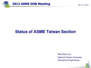 2012 ASME DOB Meeting
