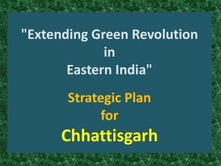 """""""Extending Green Revolution in Eastern India"""" Strategic Plan for Chhattisgarh"""