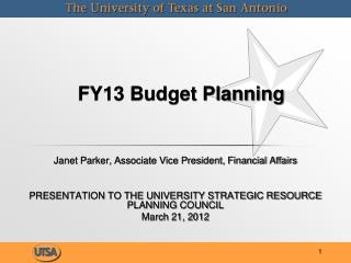 FY13 Budget Planning
